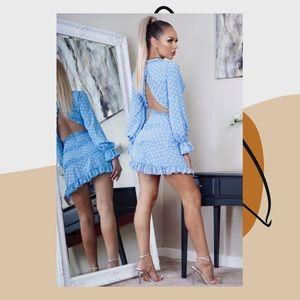 Polka Dot Frill Trim Tiered Long Sleeve Mini Dress
